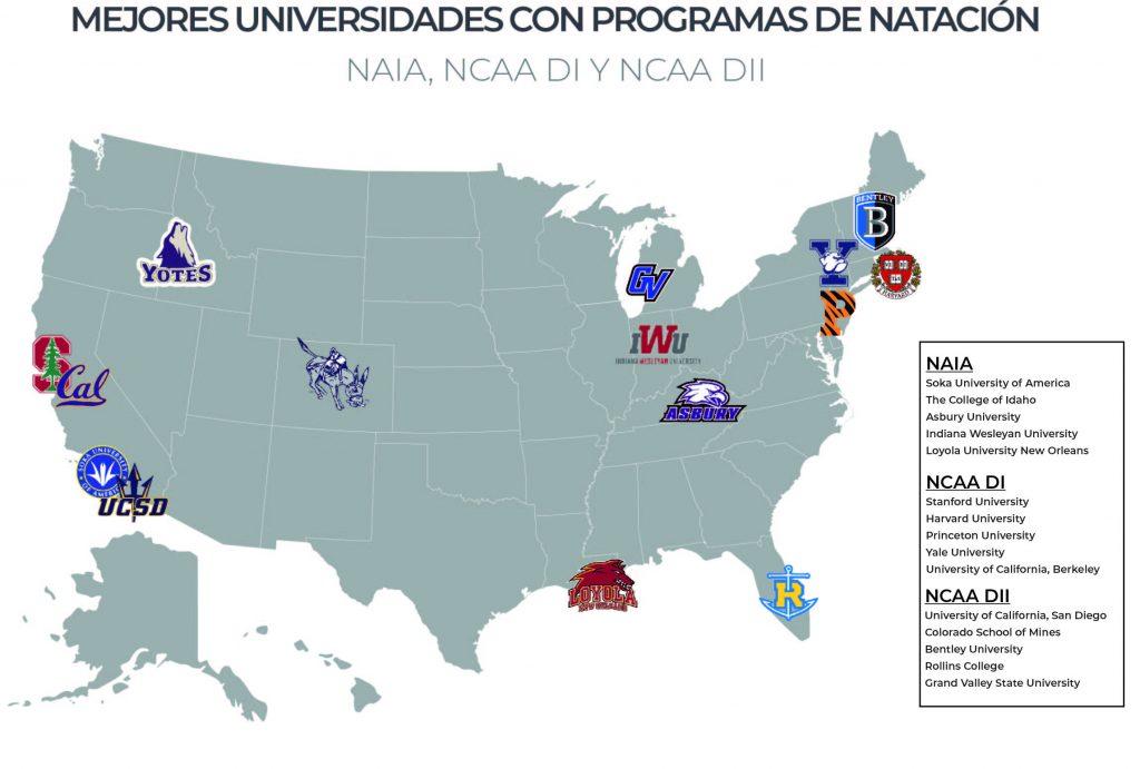 Mapa de las mejores universidades de natación en USA